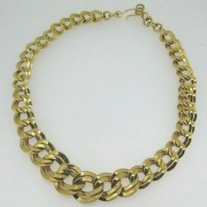 Monet Gold Tone Flat Chain Linked Choker Necklace